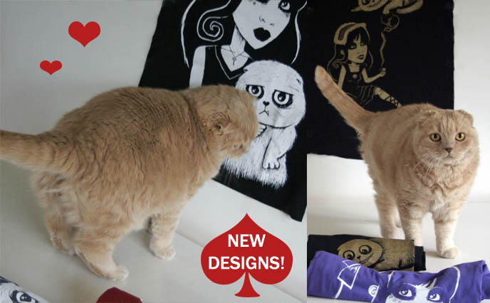 la carmina clothing line, scottish fold cat drawing, cute kawaii cats design, cool fashion label, WIN A LA CARMINA & BASIL T-SHIRT! akumu ink, gothic cyber fashion, steampunk tshirts, t-shirt company punk, alt indie print tshirts, start clothing label, contests gothic lolita, scottish fold cat shirt, graphic tees japan tokyo harajuku