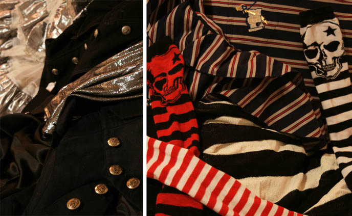 gothic lolita clothes, punk and stripes, emo fashion, skull prints.