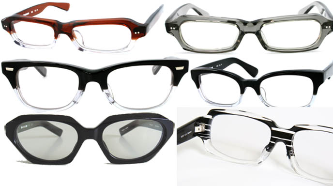 Cool hipster designer acetate frames by young Japanese brand Spec Espace. IM Pei glasses, Goth eyeglasses and sunglasses.
