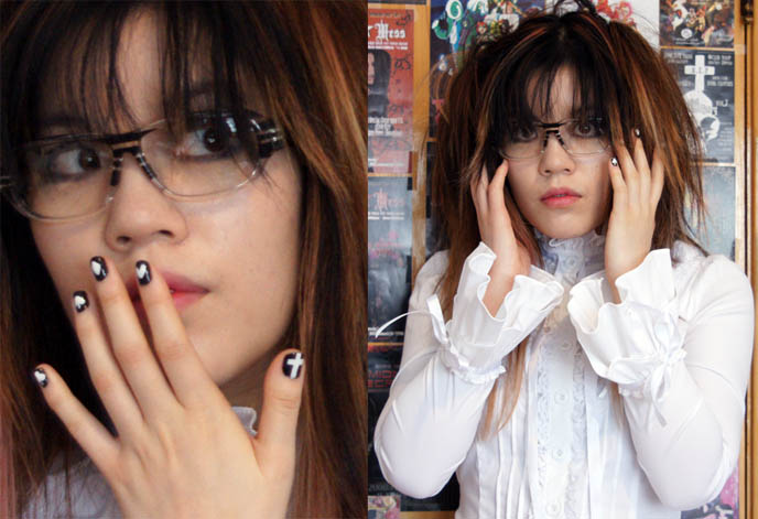 Spec Espace cool hipster designer glasses from Japan. Gothic lolita Japanese nail art, cool nail art designs with playing card symbols. Goth girl model La Carmina