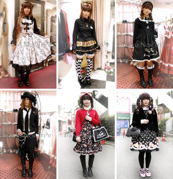 Sweet Lolita Japanese girls in MaruiOne Shinjuku department store. Ama loli and classical lolita clothes, pretty girly dresses with cute kawaii prints.
