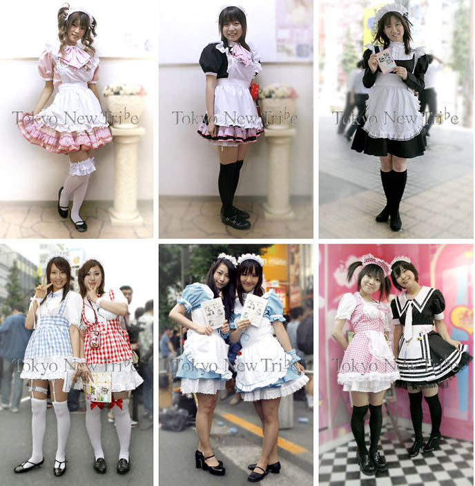 Cute Japanese maids in Tokyo, Japan. Kawaii Akihabara maid fashion, cosplay meido outfits and costumes. Maid cafes, handing out flyers on streets.