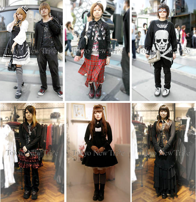 Goth and punk clothing, gothic lolita couples. Male version of goth loli, kodona or dandy, ouji, elegant aristocrat fashion.