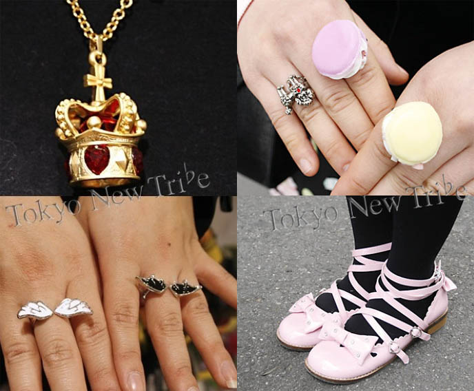 Sweet Lolita jewelry, rings. Cute Cupcake accessories, Tarina Tarantino bracelets. Angel wing rings, Vivienne Westwood crown pendant on necklace.