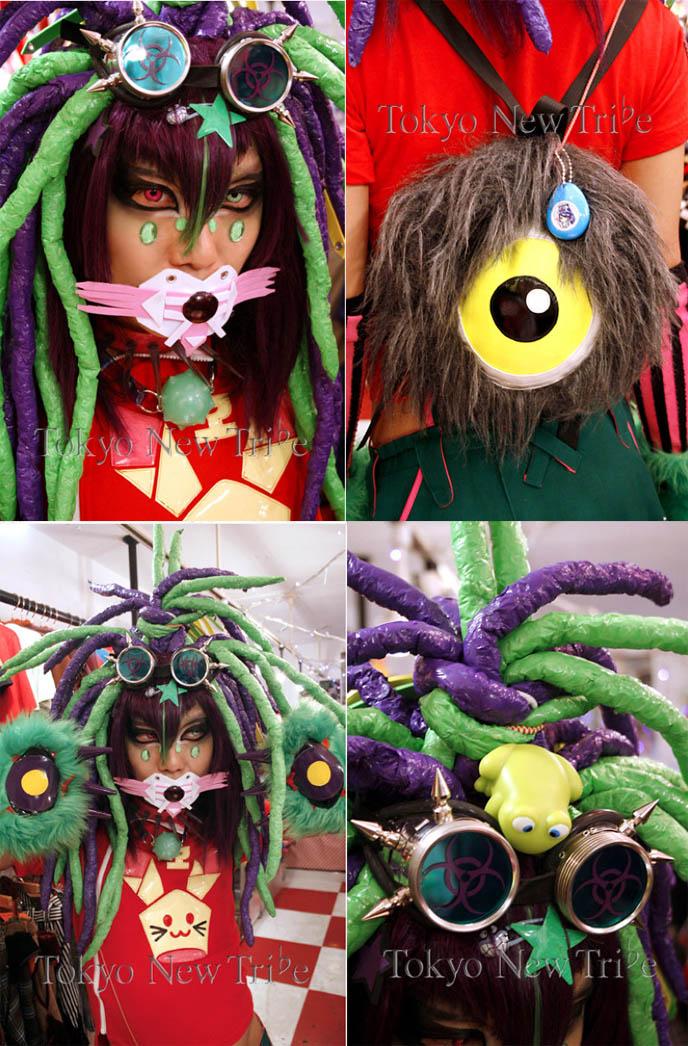 DJ Sisen from Tokyo, Japan. cyber rave fashion, Takuya Angel Japanese designer. Crazy biohazard goggles, faux fur seeing eye backpack.