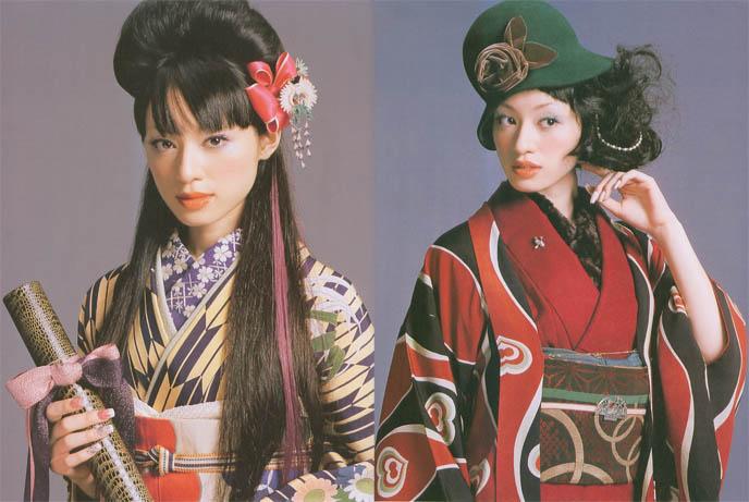 Kimono fashion, geisha makeup and hair on pretty Japanese girls. Wa Lolita, 1920s flapper hat and old Japanese movie costumes