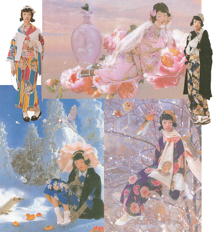 Dreamy Japanese art with cherry blossoms, pretty geisha girls in kimonos. Ancient imperial Japan fashion, geisha makeup. Wa Lolita, silk robes and old Japanese movie costumes