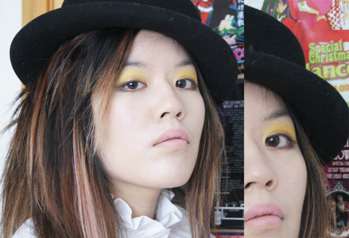 Yellow eyeshadow from Cuberry, vegan and organic makeup. Asian fashion magazine photos, electro bright makeup and pale lipstick.