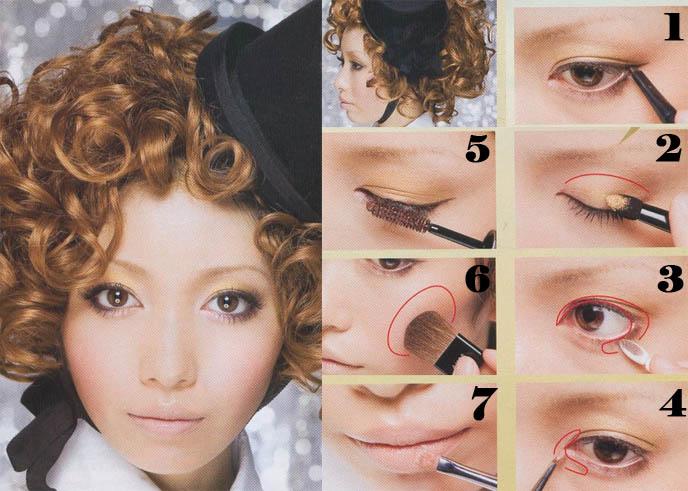 How to do gothic and lolita Tokyo street style makeup. Yellow eyeshadow, black mascara, brown eye liner. Asian fashion magazine photos, electro bright makeup and pale lipstick.