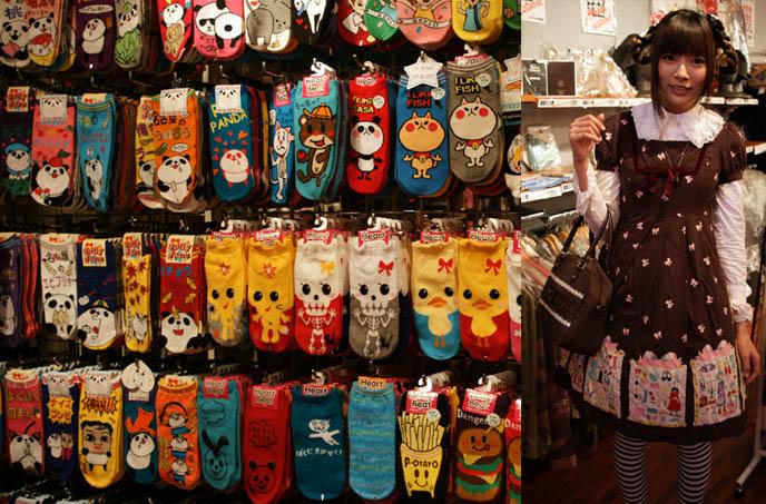 Gothic Lolita cute Japanese girl wearing dress. Cute kawaii socks in Harajuku, Tokyo Japan. Hello Kitty socks and souvenirs.