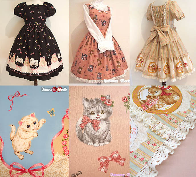 gothic lolita prints, dresses. Innocent World cute Sweet Lolita skirts and clothing from Japan. Cat and bunnies cute fabric prints.