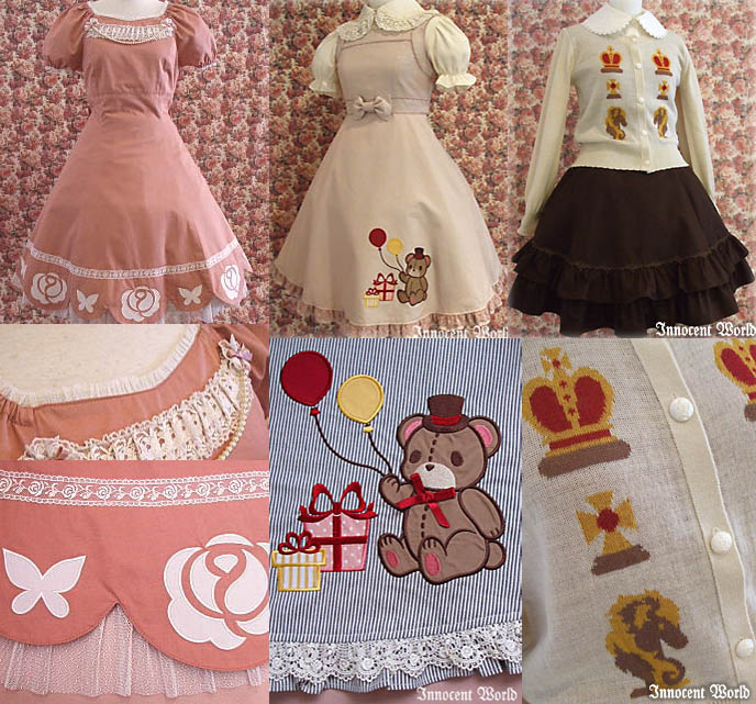 Cute children's prints clothing, girl's skirts with bear embroidery. Little girl party princess dresses, costumes from Japan.