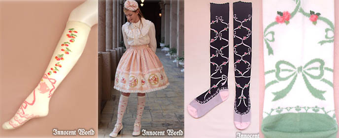Gothic Lolita knee high socks with ribbon and cherry prints. Designer Japanese socks, cool leggings from Tokyo, Japan. Innocent World EGL Lolita clothing