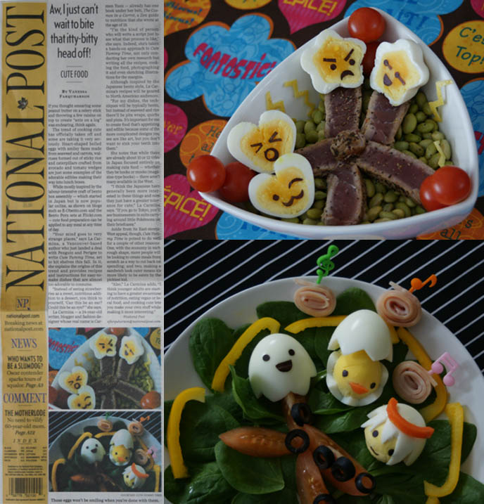Cute Yummy Time article on Japanese bento decoration trend in National Post newspaper, Canada. La Carmina interview, photos of decorated hardboiled eggs.