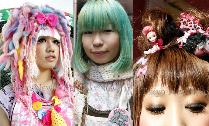 Fairy kei Tokyo fashion, dyed green hair. Wild colorful dreads, dolls in hair style, cyber falls.
