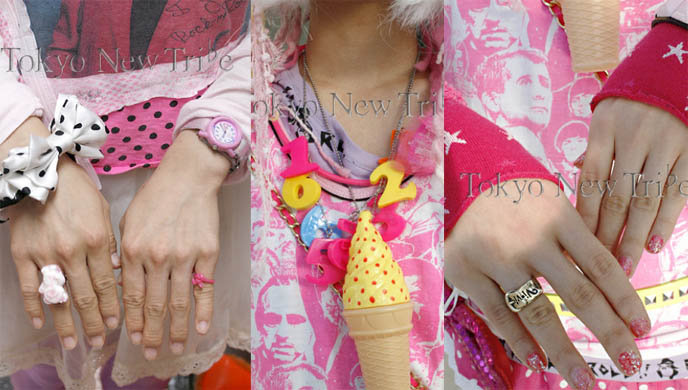 Cute girly accessories, ice cream necklace, plastic pink watch and teddy bear rings. Fairy kei fashion Tokyo Style Tribe