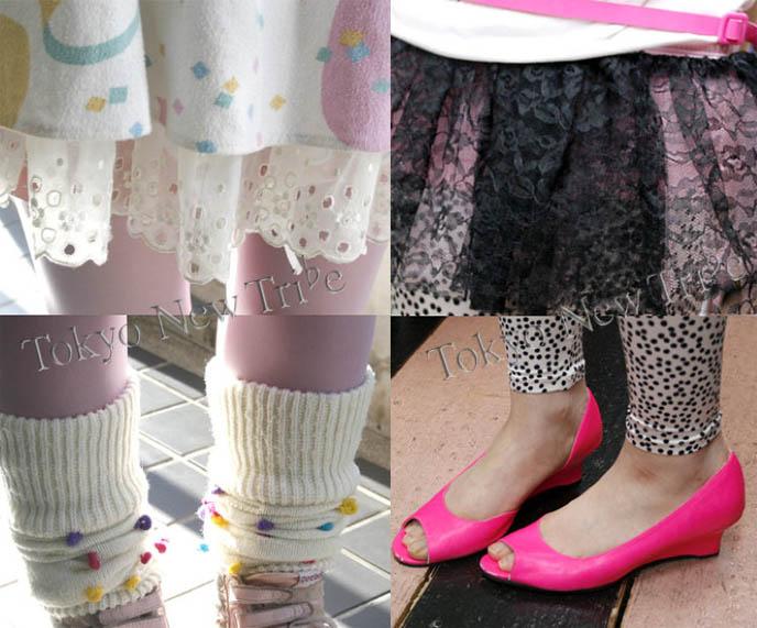 Polka dot socks, hot pink wedge shoes, cute dot leggings from Tokyo Japan. Harajuku girls crazy fashion.