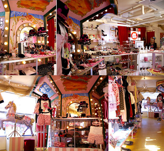 6% Doki Doki store in Harajuku, Tokyo Decora and Fairy kei fashion. circus costume clothing, pop girly style.