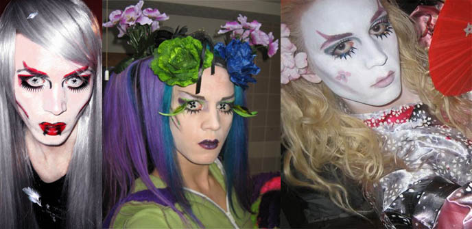 Transsexual makeup, white face paint and colored contact lenses. Wild cyber hair, makeup.