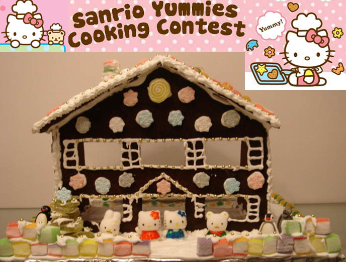 Hello Kitty gingerbread house, Sanrio candies. Cute food, decorated like Hello Kitty characters.