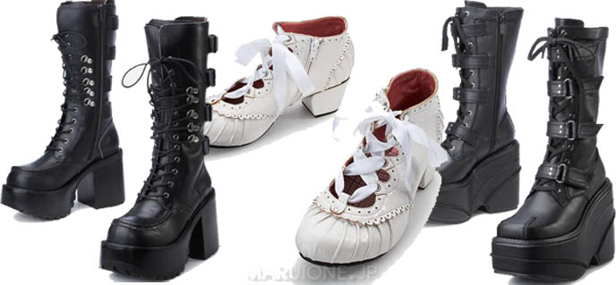 Goth boots, Gothic Lolita shoes by Leche by Yosuke from Tokyo department store. Buy alternative punk emo shoes, shopping.