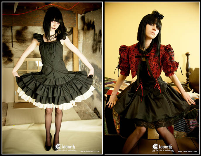 Gloomth Gothic Lolita and Goth custom made clothing. Designs, esty and ebay Gothic fashion, alternative steampunk women's and men's tailored jackets.