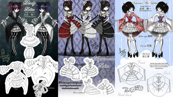 Dandy Lolita, Victorian Wa, asymmetrical Japanese dresses and fashion. Bodyline cosplay and Gothic Lolita design competition winners, winning entry.
