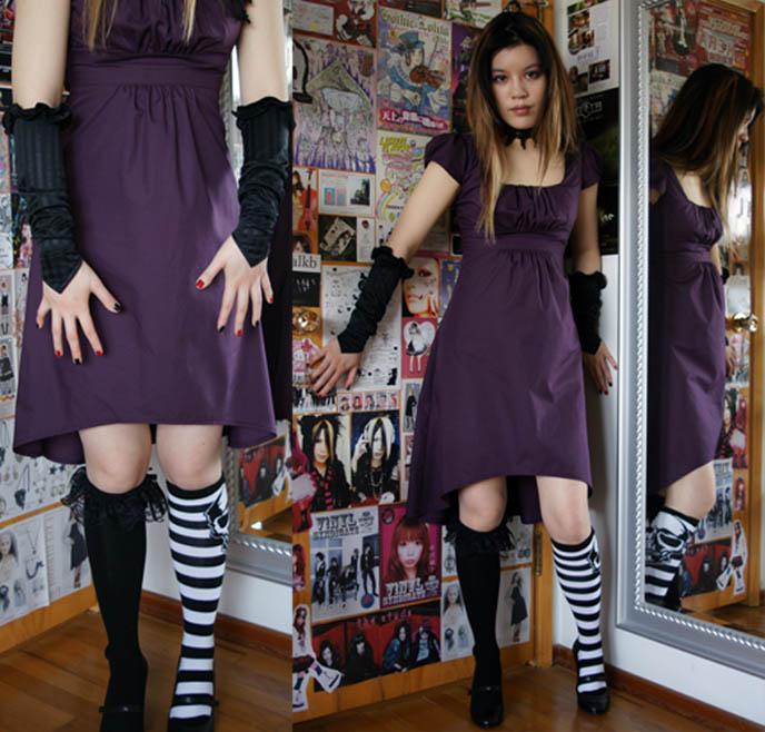 Goth dress, striped knee socks. Japanese Gothic style, Harajuku fashion. Gloomth Goth clothing company, shopping for alternative emo clothes.