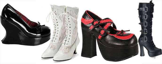 Goth boots and shoes, Gothic Lolita Punk shoes, Mary Janes, Victorian ankle boots. Alternative footwear store.
