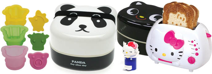 Cute bento box accessories and equipment. Japanese food decoration tools, kitchenware. Egg molds, animal ice cream sandwich shapers.