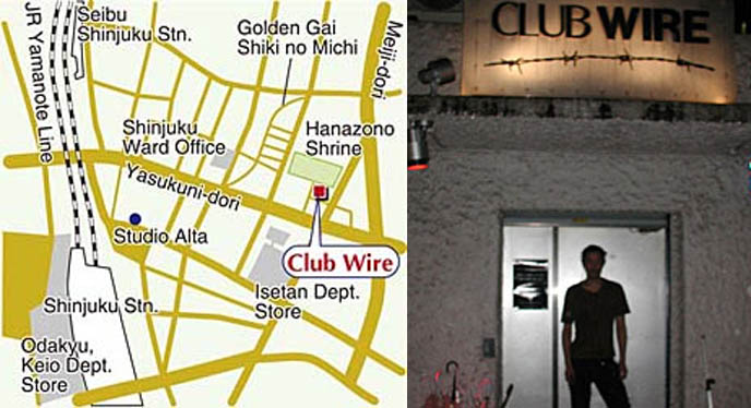 Club Wire Tokyo Japan, map to industrial glam punk goth bar and nightclub venue, Japanese gothic party.