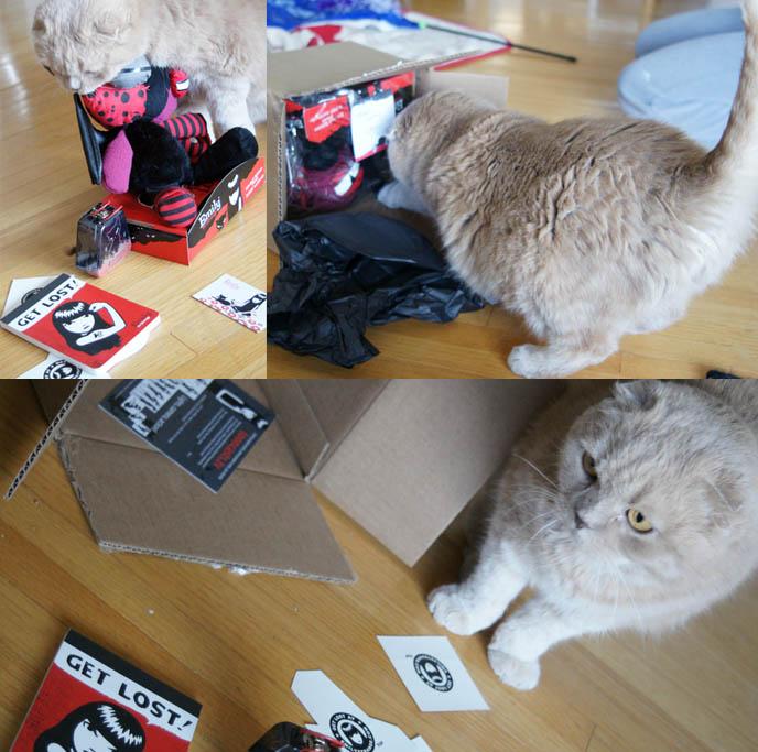 Emily the Strange plush toys, goth cat dolls, creepy Gothic stuffed animals. Emily the Strange notepad or notebook, mints in coffin tin box.