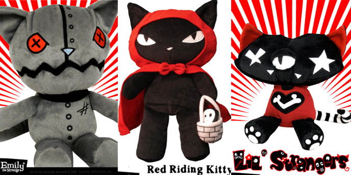 Emily the Strange black cat stuffed toys, Hot Topic emo animals, creepy goth plush dolls. Alternative goth punk accessories and collectables.