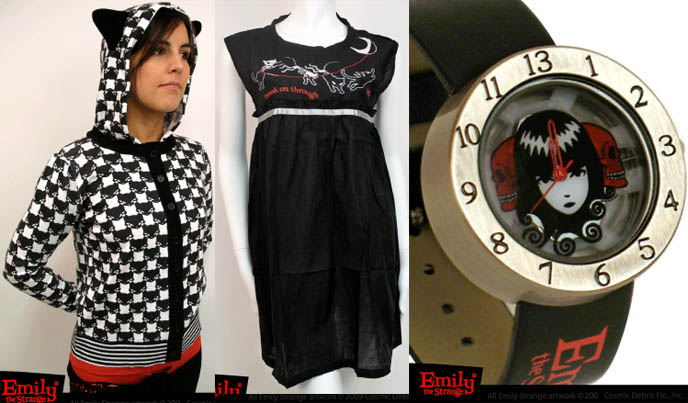 Emily the Strange clothing sold at Hot Topic. Emo cat ears cosplay hoody or sweatshirt, Repo! Genetic Opera costumes, Goth girl nightgown and intimate wear.