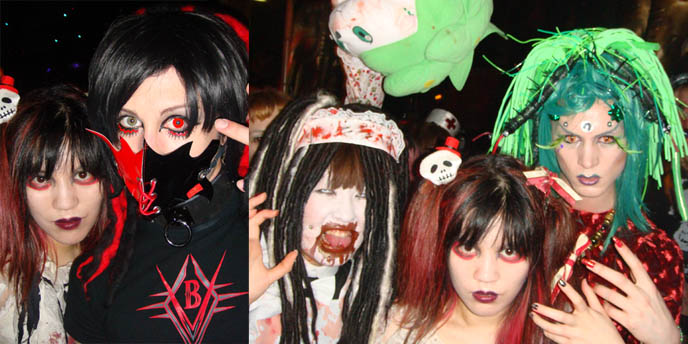 Tokyo Decadance Japanese cybergoth party photos, nightlife, gothic parties in Japan. Weird Harajuku fashion.