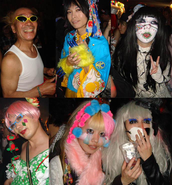 Nobuyoshi Araki erotic art photographer at Tokyo Decadance Harajuku. Japanese artist, avantgarde Bjork collaborator. Crazy Japanese makeup and masks, cybergoth club fashion.