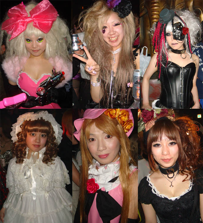 Victorian dolls, gothic lolita club fashion, lace bonnets and pirate eyepatches, little top hats, giant pink hair bow and decora eye makeup.