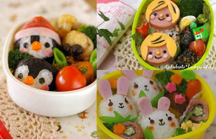 Japanese bento box decorated lunches, cute cooking and kawaii food, Japan trend of character bentos or charaben