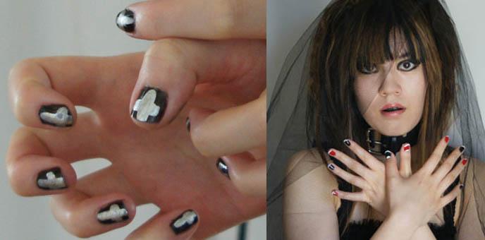 black and white nail art designs. Crazy Japanese nail art,