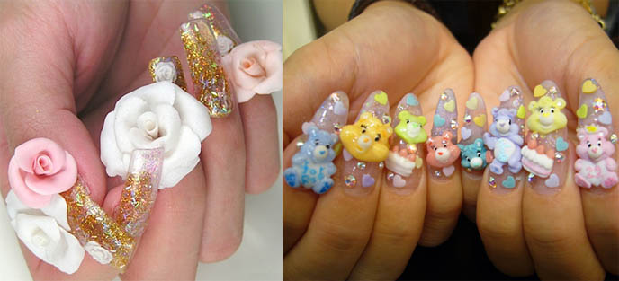 Weird Strange Odd Anese Nail Art Best Decorated Nails With Cute Kawaii Roses And Flowers