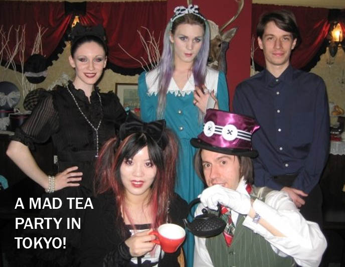 Japanese cosplay, crazy goth and lolita outfits, dresses, alice in wonderland costume party, mad hatter tea party with white rabbit.