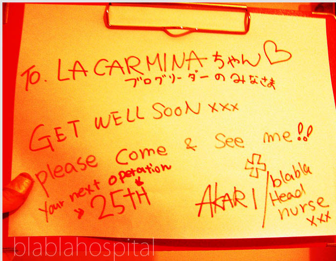 Blablahospital get well soon greeting, graphic design. Japanese La Carmina poster, flyer for punk Lolita guro brand at Kera Shop arena.