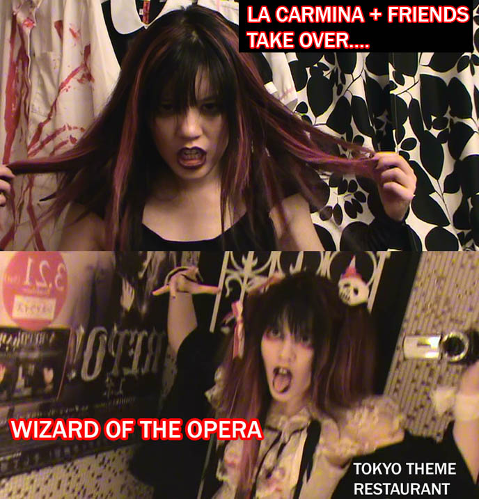 Wizard or Phantom of the Opera theme restaurant, crazy wild weird themed dining in Tokyo Japan. Vampire girl, zombie dress, La Carmina Gothic Lolita.