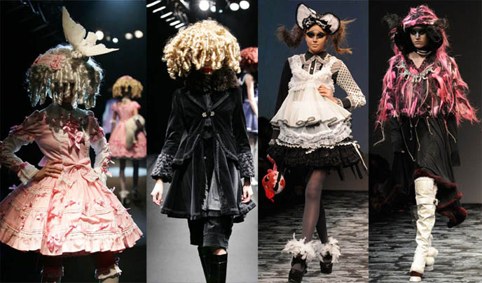 Angelic Pretty, Alice and the Pirates, h.NAOTO runway photos, Tokyo Fashion Week and Marui One expo in Japan, from Japanese Goth book by Tiffany Godoy