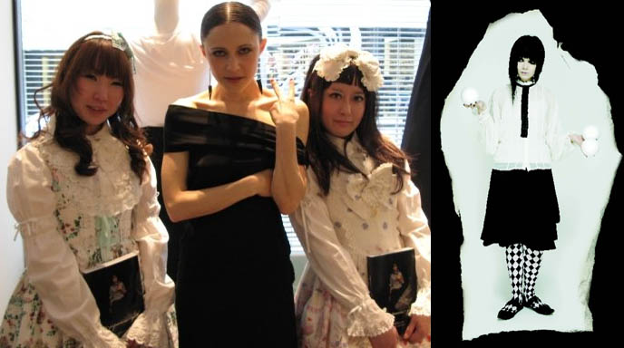 Japanese Goth book release party at Collette, Baby the Stars Shine Bright sweet lolita models. Pierrot Goth clothing by Mukuro, Japanese wild fashion book.
