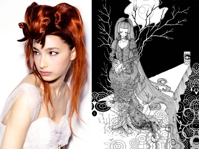 Gothic Japanese art by Yoh, Nagi Noda and Kenneth Cappello weird wigs with animal heads, dog hair and fox head wigs on model, Japan strange fashion.