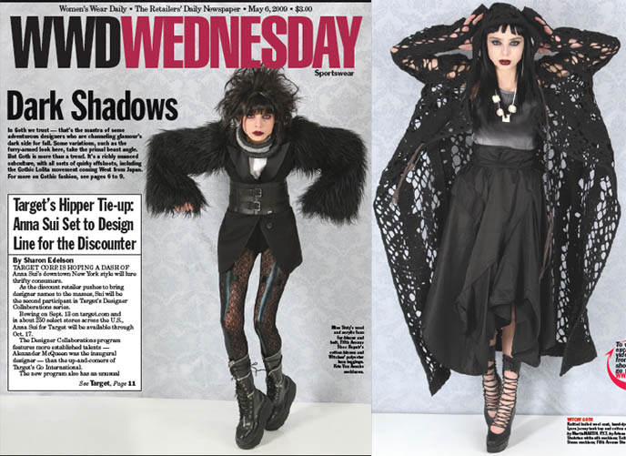 Women's Wear Daily article on Japanese Goth fashion, Valerie Steele of FIT Exhibit, Dark Shadows fashion shoot, Gothic models in NYC.