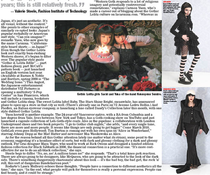Women's Wear Daily article, WWD Gothic Lolita magazine, La Carmina and Kokusyoku Sumire, fashion shoot with Goth models, hair, Sass and Bide candy dresses.