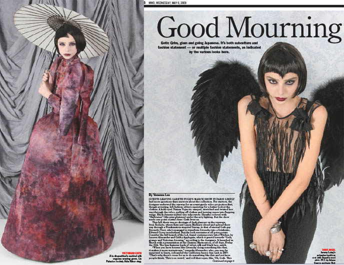 Women's Wear Daily article, WWD Gothic Lolita fashion, Jeremy Laing, Staerk, A la disposition designers, hot Goth girl models with parasol.