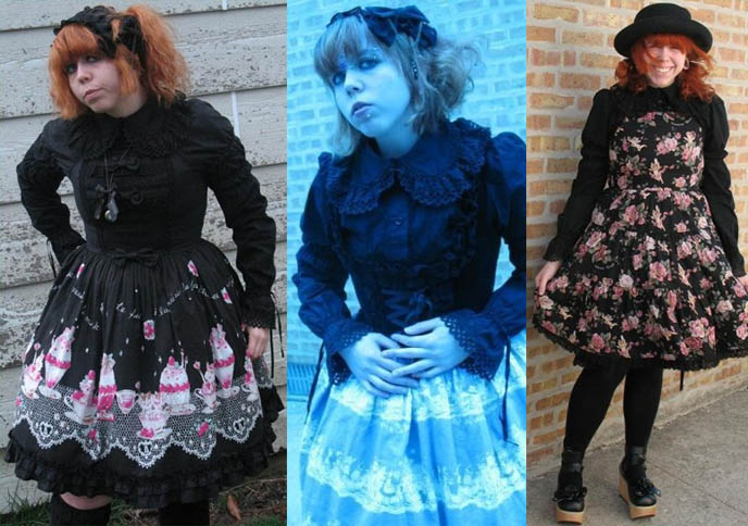 Chicago Lolita, red hair, big bow, Gothic subculture style, alternative clothing USA clothes.